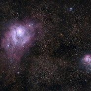 Trifid and Lagoon Nebulae taken by BOB HATFIELD of SOUTHLAKE