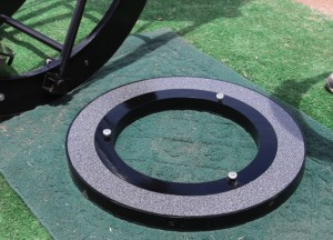 The annular base board showing the three (one adjustable) azimuth bearing wheels.